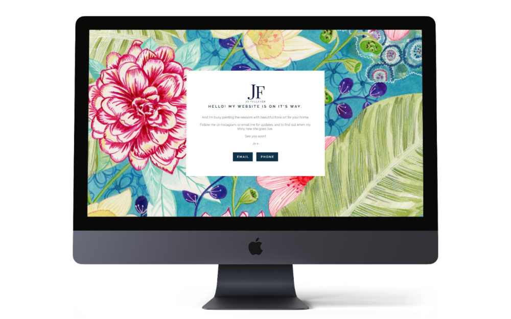 Jo Faulkner Cover page - branding and responsive Squarespace website coming soon