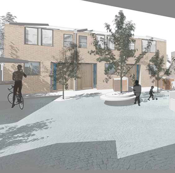 A terrace of 2 two-bed dwellings and 1 three-bed dwelling inserted into the courtyard.