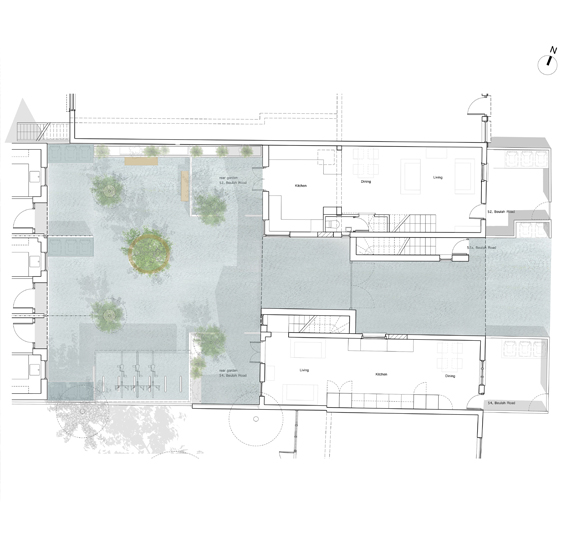 Courtyard creating individual gardens and shared spaces.