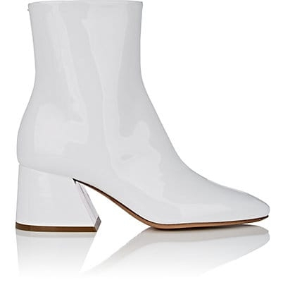 MAISON MARGIELA Angled-Heel Patent Leather Ankle Boots $995,  Barneys.com