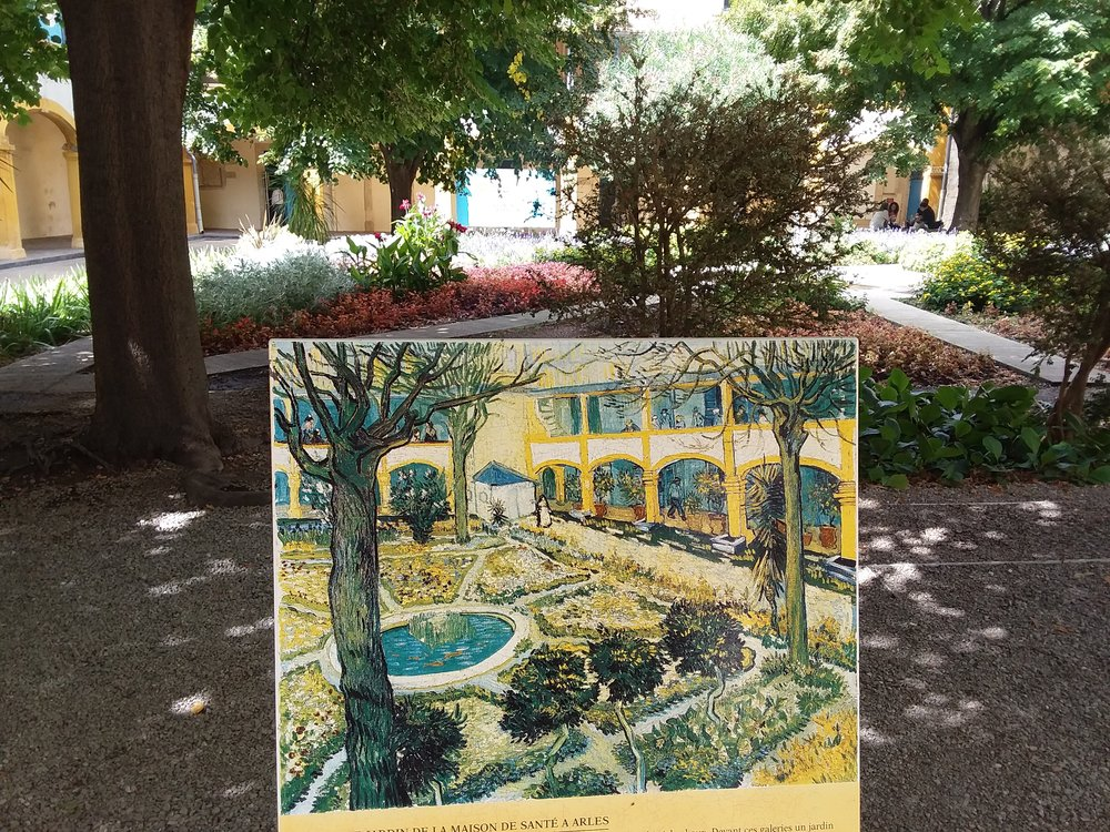 van Gogh's The Asylum Garden at Arles (Later, Carol would explain that Van Gogh painted the scene from the second floor of the asylum).