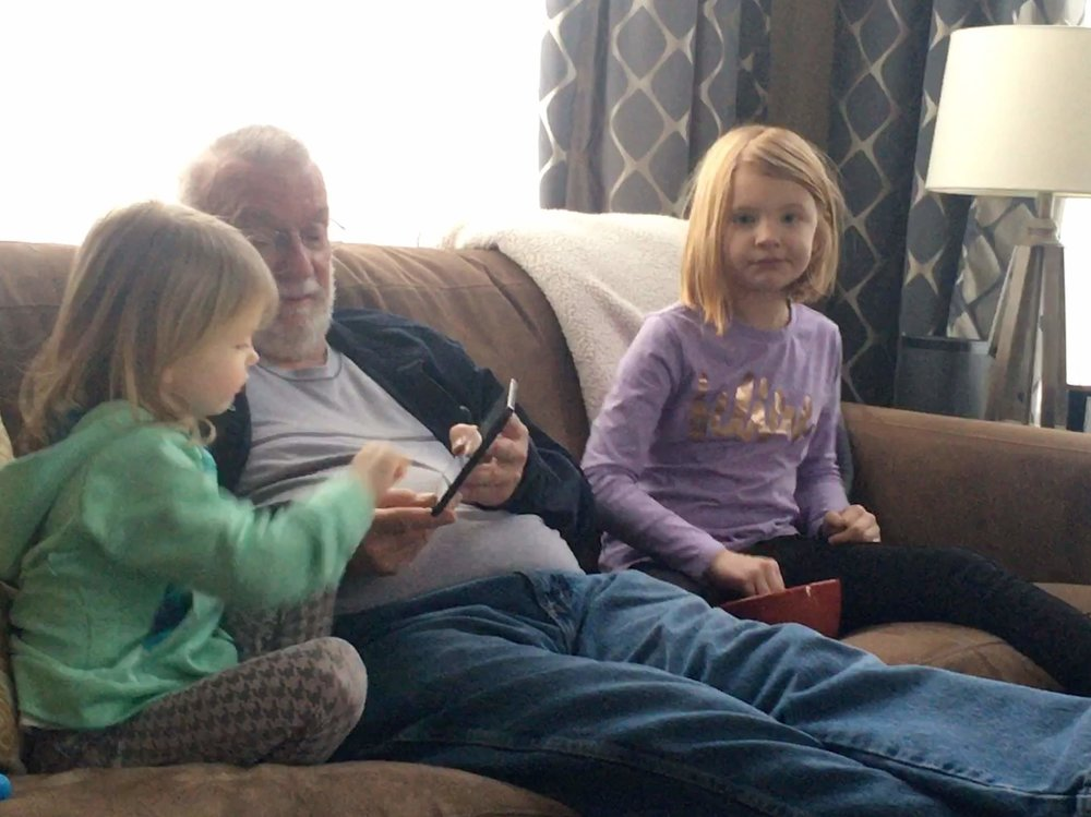 A cozy couch cushion of grandchildren