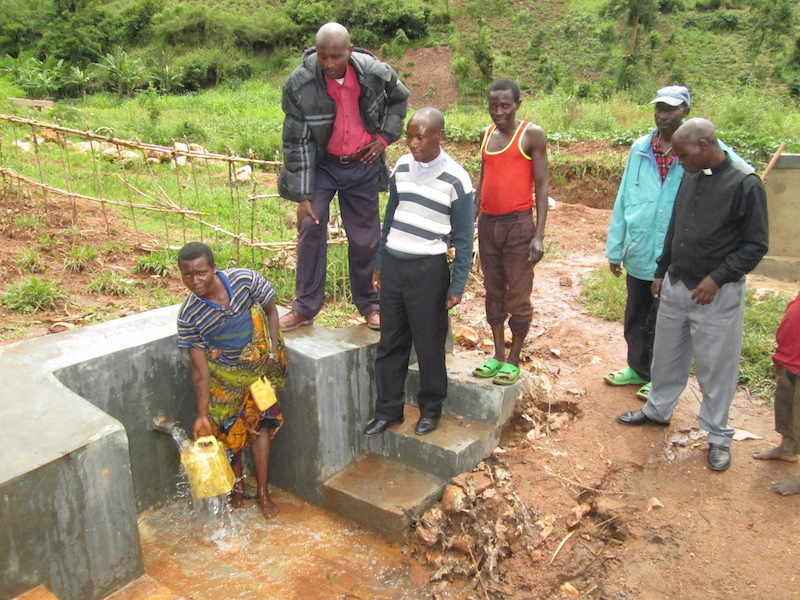 General donations to a project in Burundi allowed a local community to complete a project to protect natural springs and provide the residents with clean water.