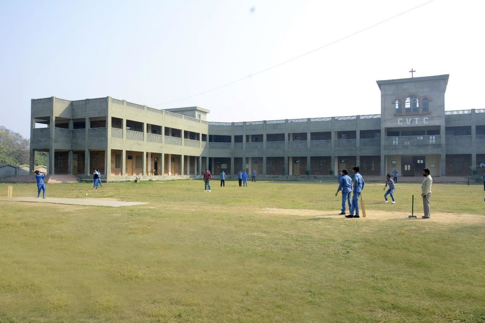CVTC has a large space where the students play cricket when they are not in vocational training classes.