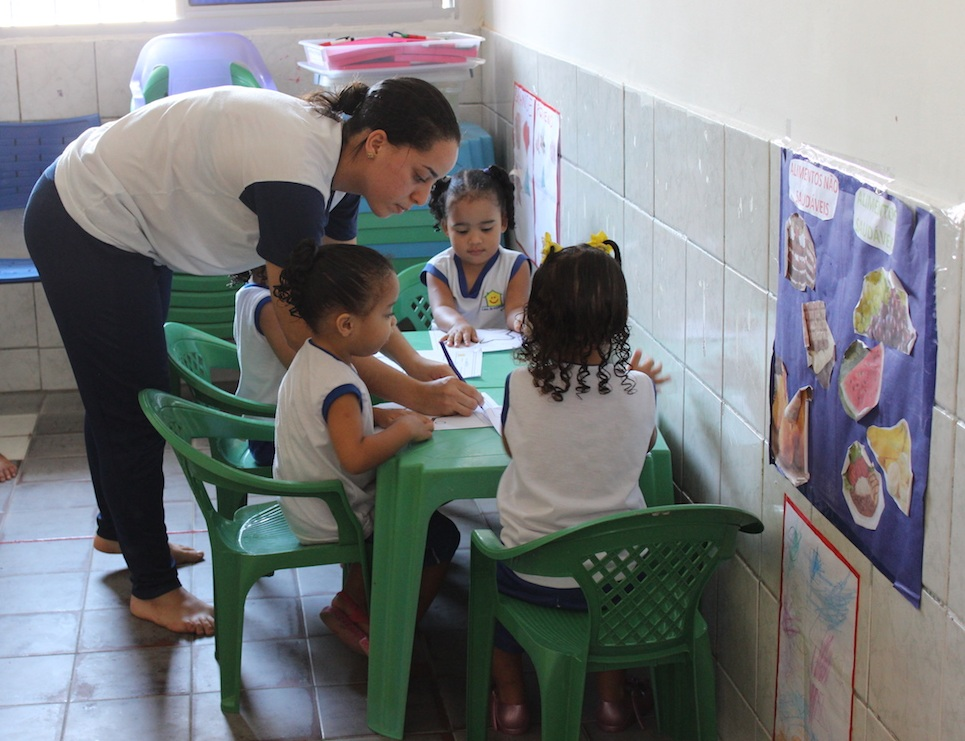 Aline teaches some of the youngest students at the House of Hope, which is operated by the church in the slums of Recife.