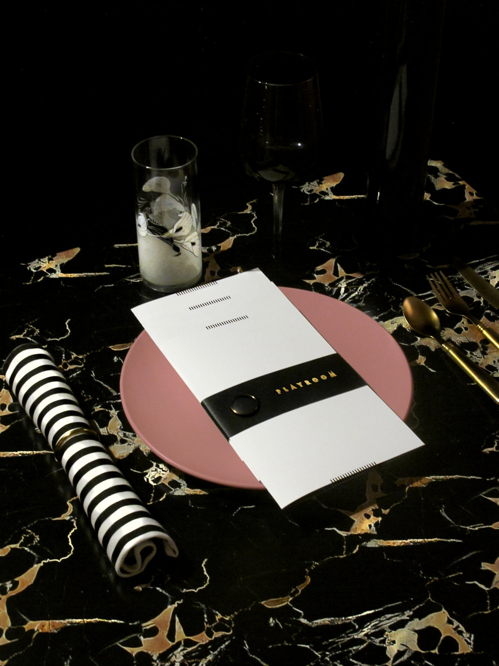 Table setting and menu collection with custom leather holder