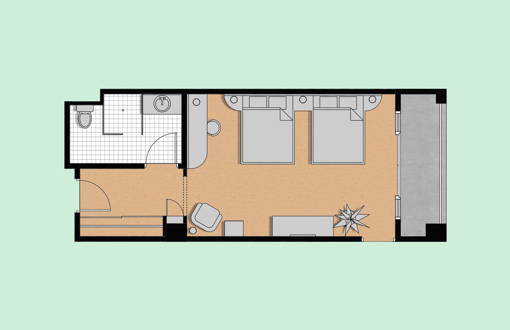 Rendered furniture layout plan of the general guest suite