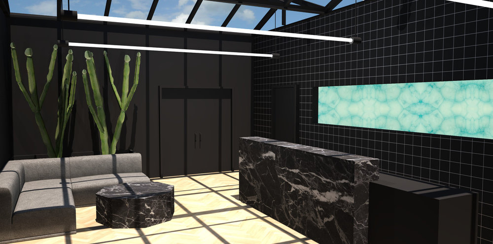 Interior rendering of the front reception