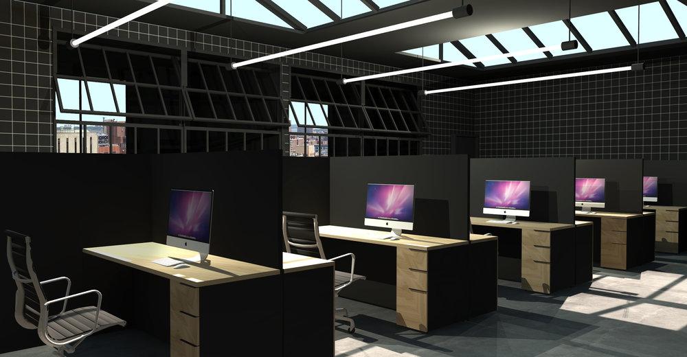 Interior rendering of the general work area