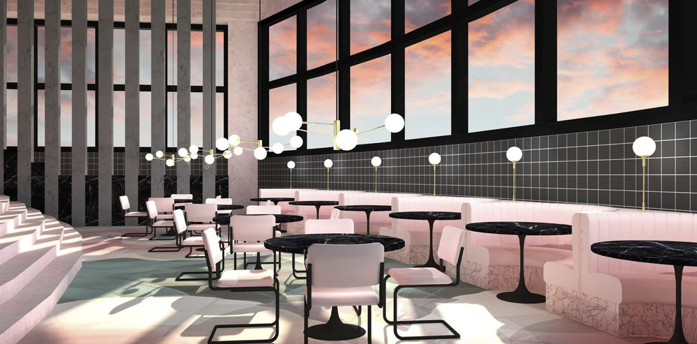 Interior rendering of lower dining area