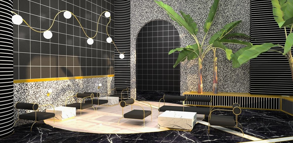 Interior rendering of the hotel lobby seating area