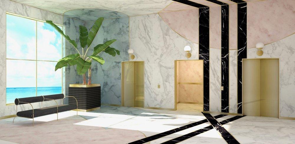 Interior rendering of elevator lobby