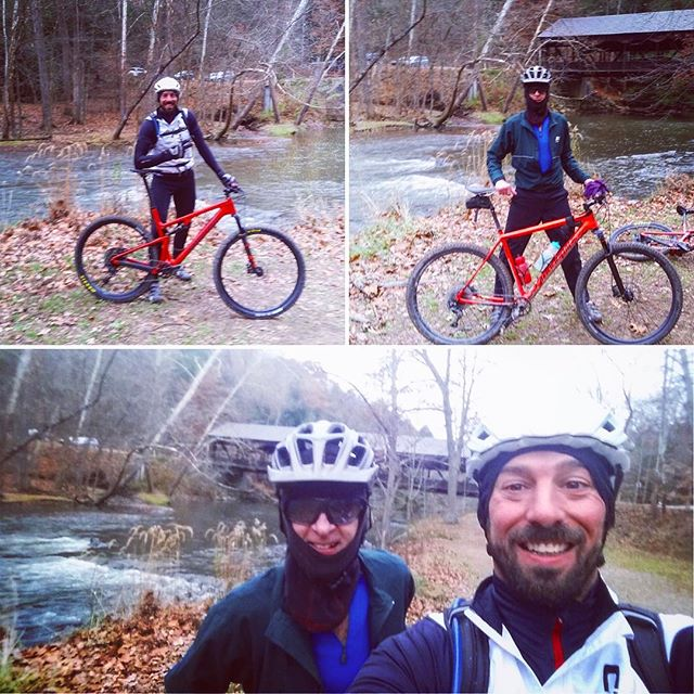 Bike Ohio's #servicemanager @Doug and #motivationalspeaker Chad snuck in a late season jaunt at #mohicanstatepark on their new whips. Trail reports point to pure #radness ! . . . #mtb #santacruzblur #cannondalefsi #rideallyear #strictlybusiness #xcmtb #braap