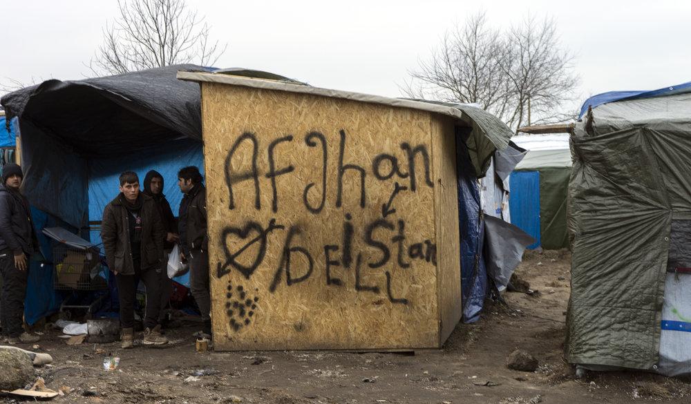 Afghan home in Calais jungle.JPG