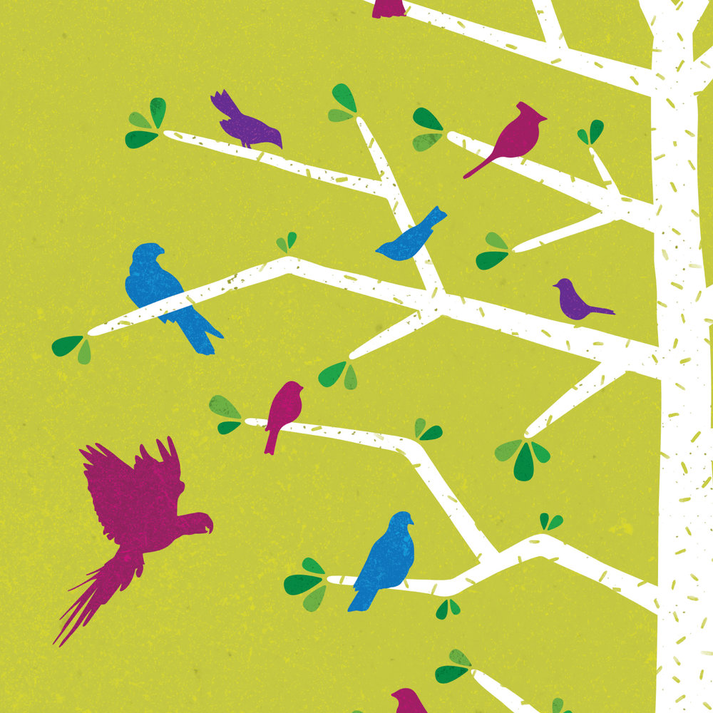 Zoo PosterSing With The Birds - Color & TextureAfter creating all of the shapes and silhouettes that made up this illustration, I spent quite a bit of time deliberating over color. Eventually, I decided on the vibrant green that the final ended up with, which I then textured in Illustrator.You can see some of the other color versions at the bottom of the page.