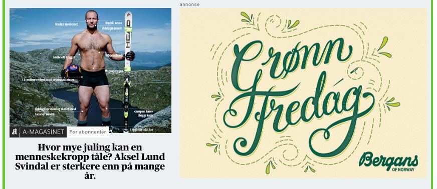 Slik annonserte Bergans i Aftenposten søndag før Black Friday.