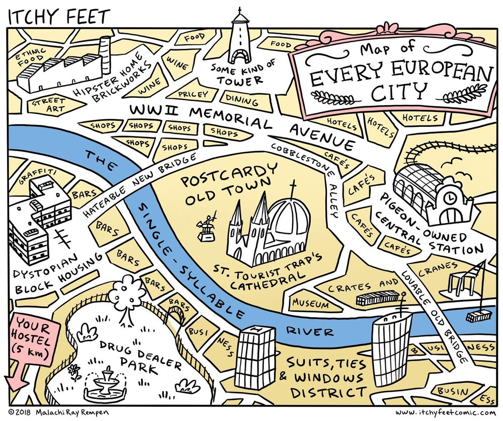 Gjelder denne også for Oslo?  Kilde: Itchy Feet. The Travel and Language Comic