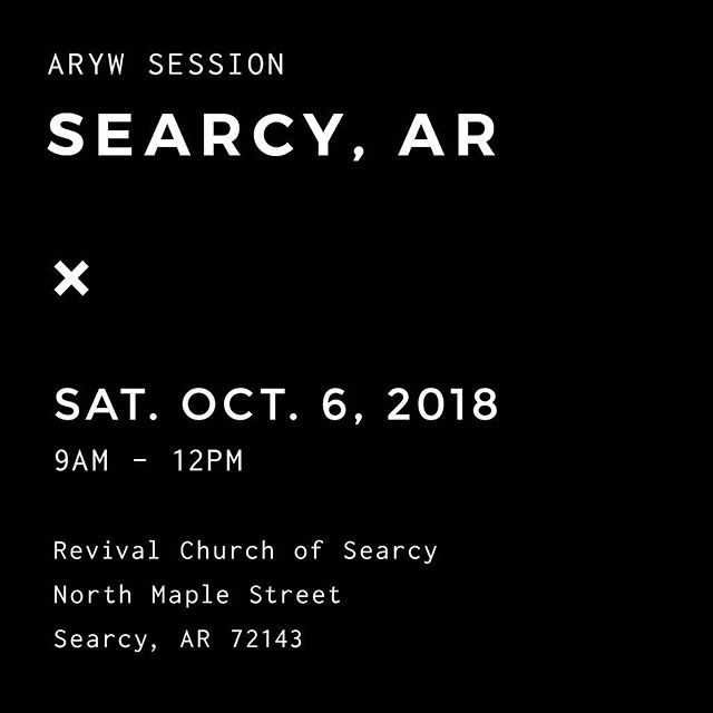 Our next ARYW session will be in Searcy, AR on October 6th! - We're so excited to see you! Head on over to our Facebook page for more info, and let us know you're coming!