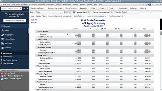 QuickBooks Accountant reports screen