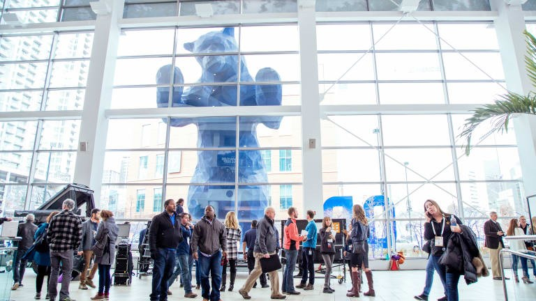 "The Big Blue Bear ""peeks"" in at visitors to the Colorado Convention Center in Denver, Colorado"