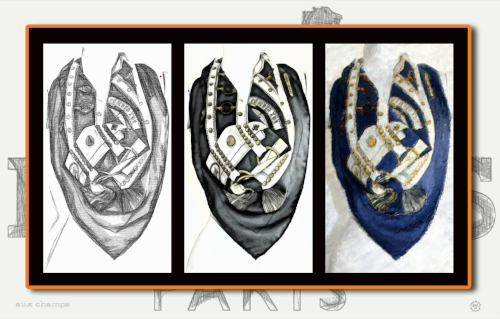 """aux champs"" in dedication to the Hermes classic scarf done in three frames."