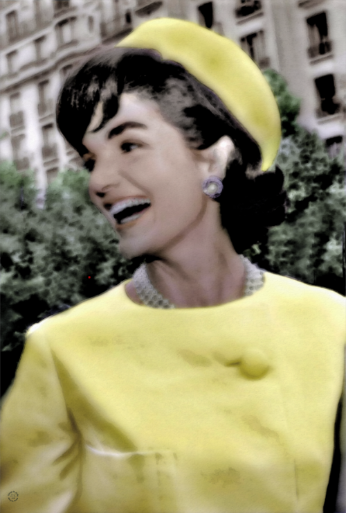 """Timelessly Jackie"" wearing her classic Pillbox hat with a beautiful jacket."