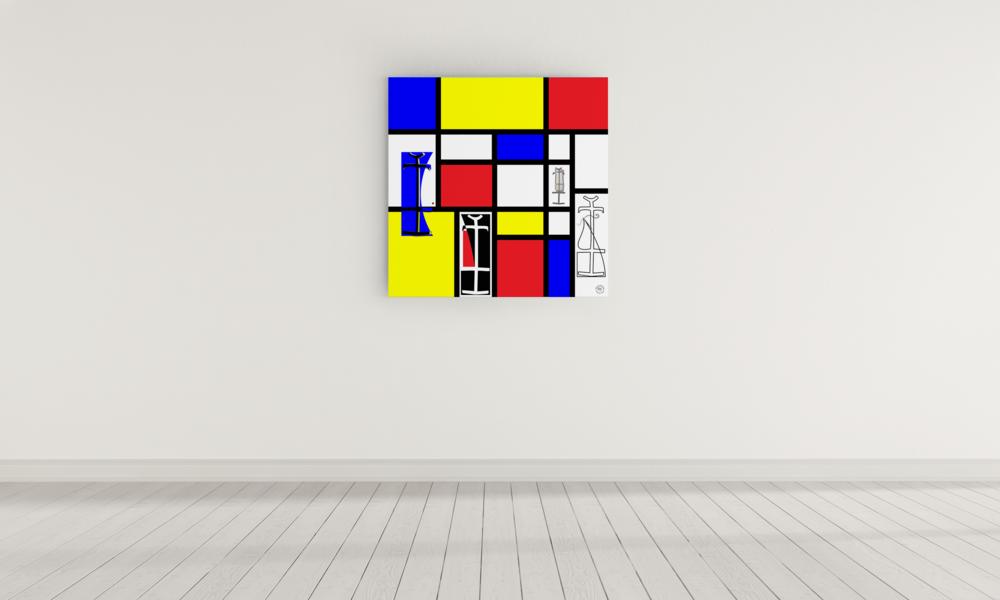 "48""x48"" ""Dressing Mondrian"" on canvas."