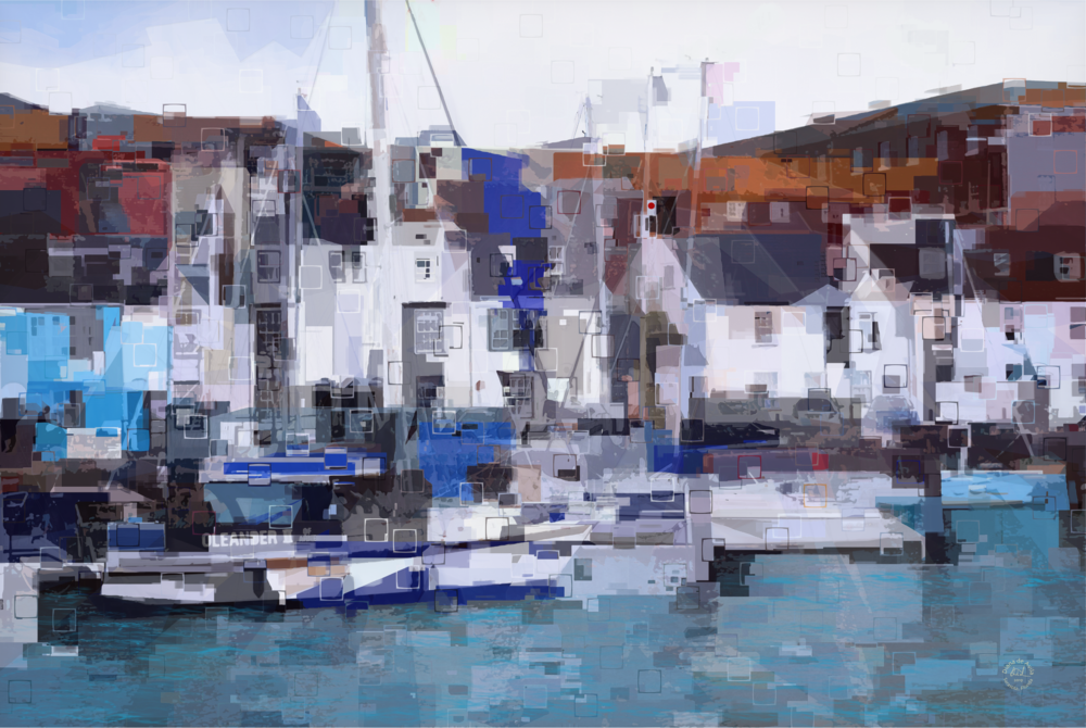"""""""Harbor"""" created from a photo of Weymouth Harbour in Dorset (UK) I've been drawn to the water and love the abstraction of geometric shapes."""