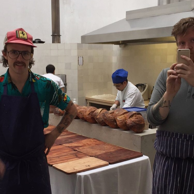 Felix, my sourdough, and Lukas at our Contramar Pop-up