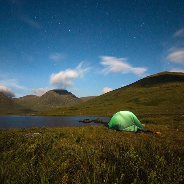 Was about to go to sleep beside Loch Dochard when it started to get brighter in my tent. A near full moon had decided to show up from behind clouds. The whole place was pretty bright. Not total daylight but you could walk about the place fairly easily. Think they call those stars in the middle the Big Dipper. Also looks like a bent saucepan.  Location: Loch Dochard, Scotland