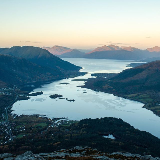 Bottom left is Glencoe Village. Bottom right is that lochan near Glencoe with the good reflections. Went onto google maps to try find out how far you can see from here. It's about 30 miles.  Location: Pap of Glencoe, Scotland