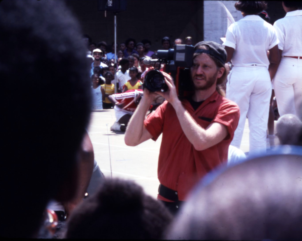 """Skip Blumberg shooting on the set of """"Pick Up Your Feet: the Double Dutch Show"""""""