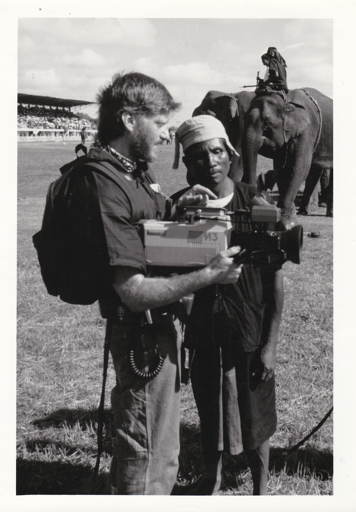 """Filmmaker Skip Blumberg in the field during """"Elephant Games"""" production (1985)"""