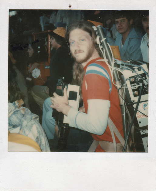 """Skip Blumberg with production pack on the set of """"TVTV Goes to the Superbowl"""""""