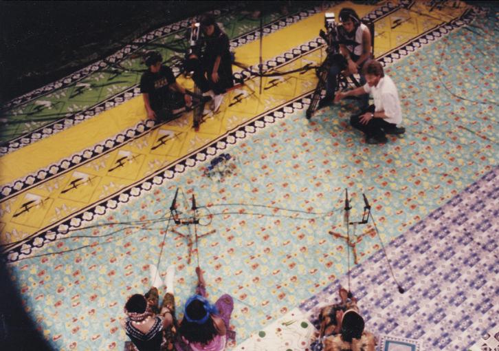 "Skip Blumberg on set of ""Women of the Calabash"" (1987)"