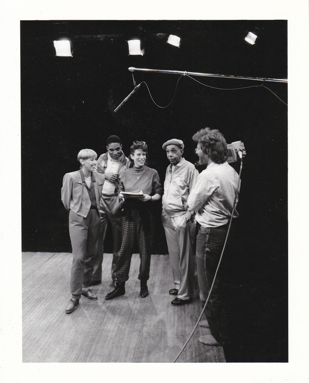 """Skip on the set for """"Essentials of Tap Technique"""" with co-producer Susan Goldbetter and dancers Brenda Bufalino, Kevin Ramsey, and Charles """"Cookie"""" Cook"""