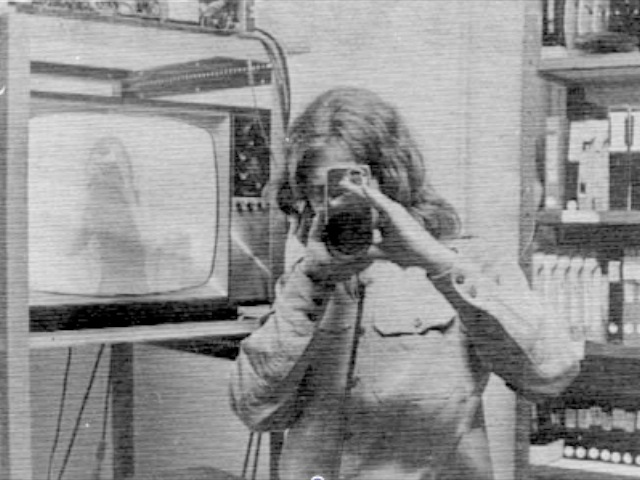 Skip Blumberg posing with a classic Sony camera while working with the Videofreex in Lanesville, NY
