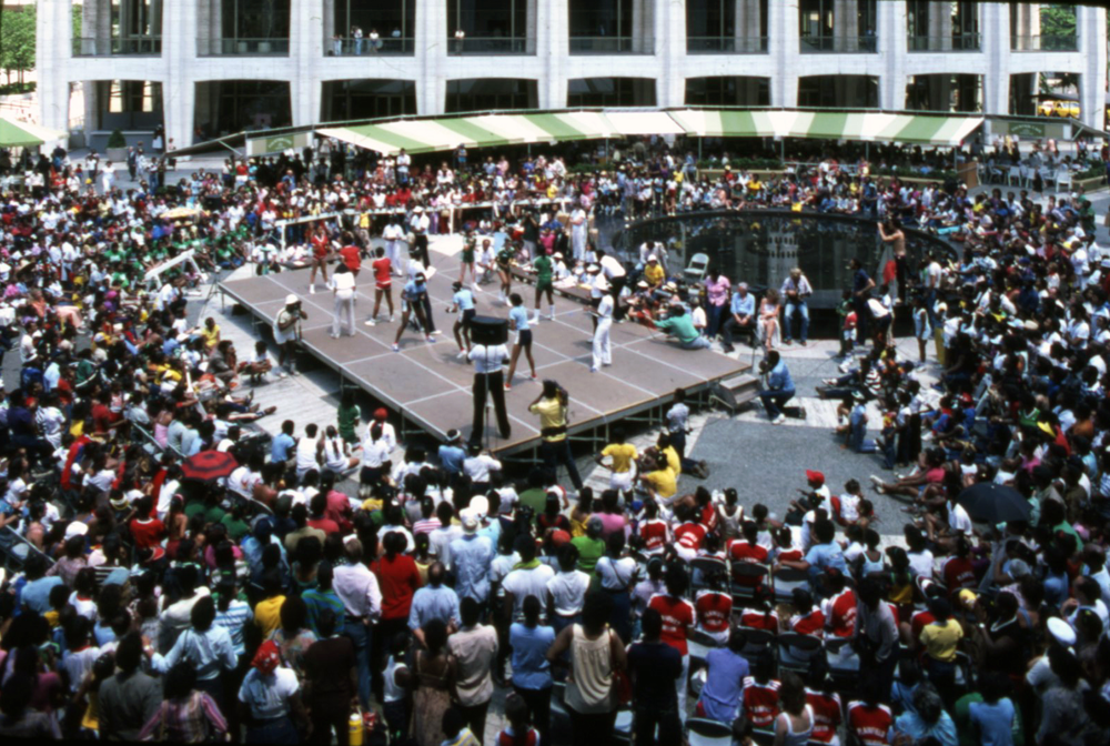 Crowd gathered at Lincoln Center (NYC) to watch the Double Dutch Competition