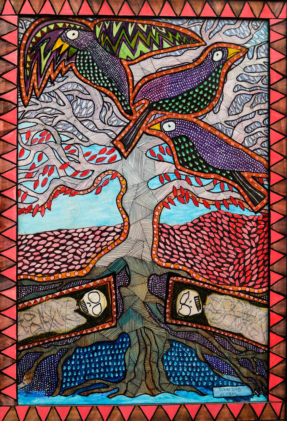 """Starling $900  After learning how trees in a forest will communicate with one another through their roots, I've become fascinated by what these old giants might be saying to one another. We are merely a blip on their timeline. I wonder if they even bother to discuss our presence at all. Gouache and ink on wood. Approx. 25 3/4"""" x 17 3/4""""."""