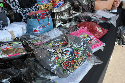 Handbags and purses for sale at the Flea Market at Menge