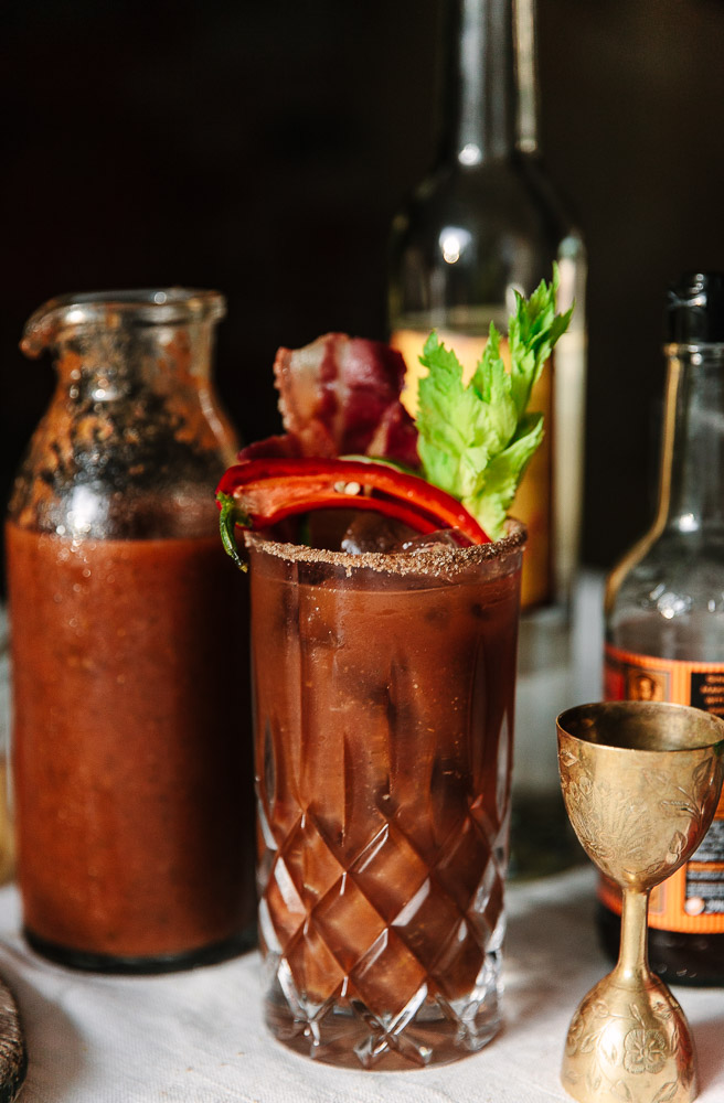 A take on a classic, this Bloody 'Maria' is made with bacon fat washed Mezcal and Chilly infused sherry. Mmm…