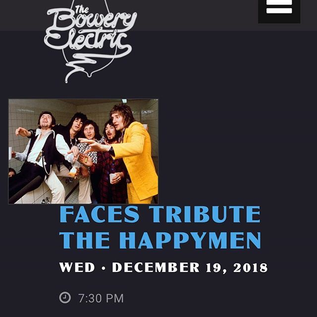 Hot holiday show alert!! We will be playing with Faces Tribute @theboweryelectric Wednesday December 19th. Stay tuned for show times.