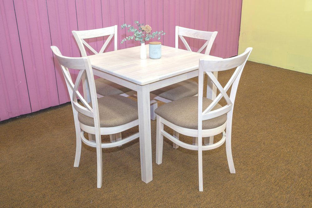 JAVA/SUZIE 5 PIECE EXTENSION DINING SUITE IN WHITEWASH FINISH.     $849-00    800mm SQUARED TABLE EXTENDING TO 1200MM .     ALSO AVAILABLE IN WHITE OR ANTIQUE MAPLE FINISH.
