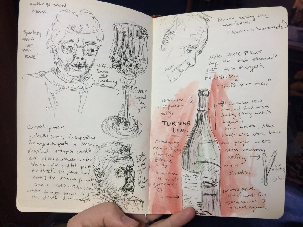 a page of my scrawlings and inaccurate sketches from our visits to Whitestone