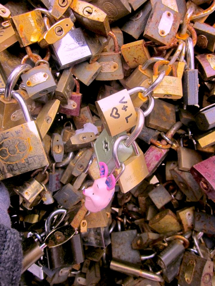 Lover's Locks: public proclamations of love now popular all over the world. These reside in Pécs, Hungary.