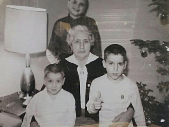 Dad and his brothers with their Nonna.