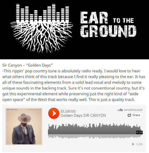 "Sweet review of ""Golden Days"" by Ear To The Ground Music!"