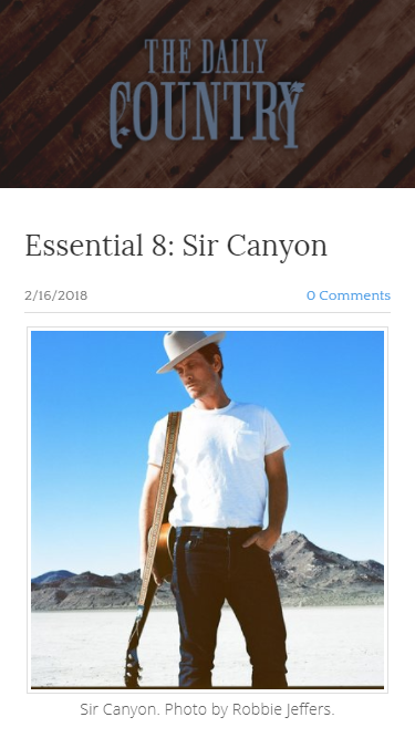 "Noah answers the ""Essential 8"" Questions asked by The Daily Country"