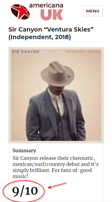 "The Brits think ""Ventura Skies"" is 9 out of 10!"