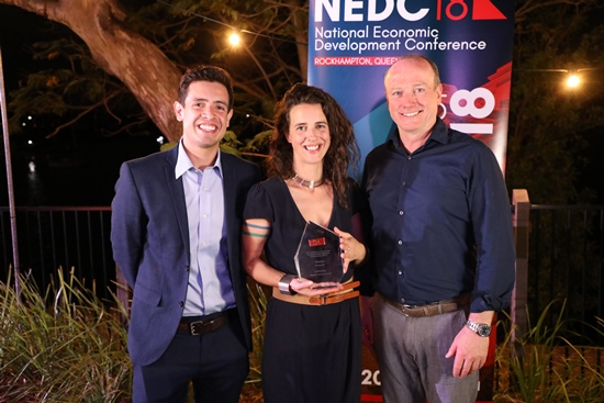 Geospatial Analyst Daniel Hernandez, Practice Manager Nicki Booth, and Managing Director Kevin Johnson at NEDC 2018. Source: Economic Development Australia